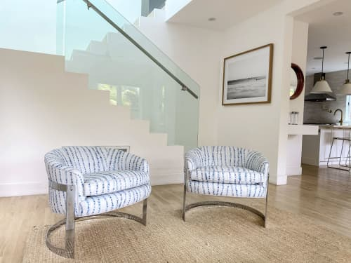 Milo Baughman Club Chairs in Blanket Blue | Chairs by Stevie Howell | Venice Canals in Los Angeles