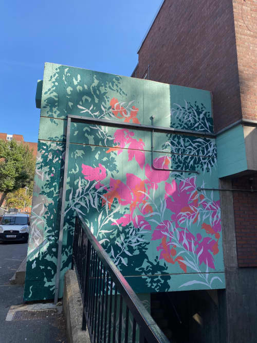 Botanical street mural in Ingestre housing estate   Murals by Living Wall Murals