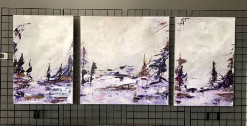 Paintings by Mireille Laroche seen at Creator's Studio, Ottawa - A Day at the Lake - Triptych