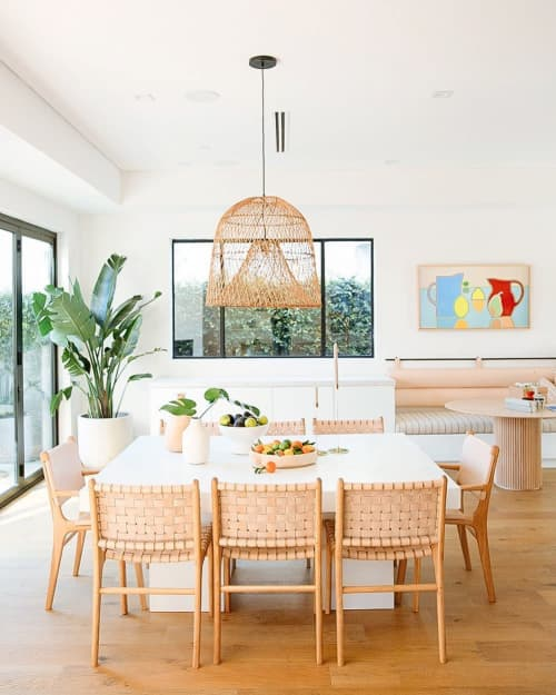 Chairs by Barnaby Lane seen at Private Residence, Los Angeles - Tanner Oak - Rose Blush