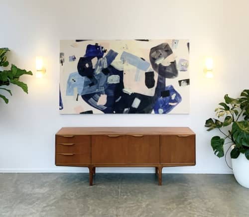 """Paintings by maja dlugolecki at Groundworks Industries, Portland - commission for groundwork hq, 36"""" x 60"""""""