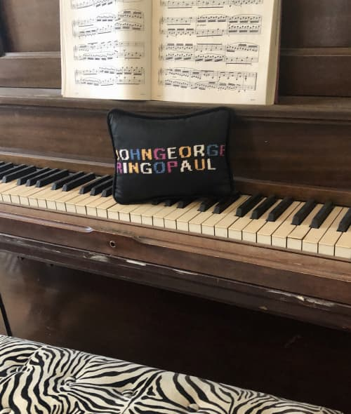 Pillows by Mommani Threads seen at Private Residence, Blowing Rock - THE BEATLES Revolution cotton sateen toss pillow