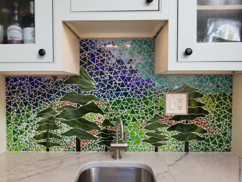 Wall Treatments by Annie Sinton Glass seen at Private Residence, Chadds Ford - Kitchen Backsplash