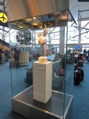 Lady Blue from the Miss Bunny series   Sculptures by Anyuta Studio   Vancouver International Airport in Richmond