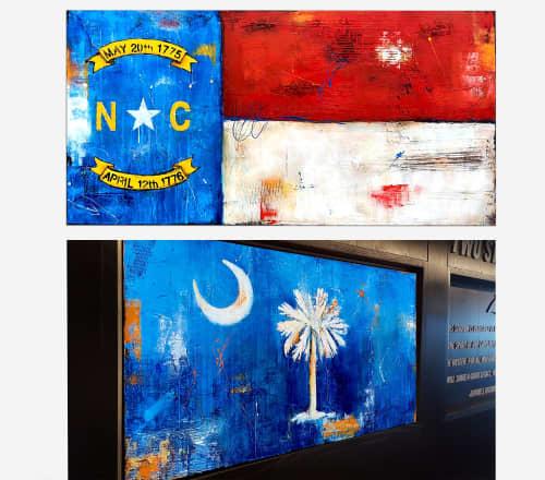Stadium Art/Custom Flag paintings- North Carolina & South Carolina | Paintings by ERIN ASHLEY | Bank of america stadium in Charlotte