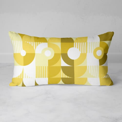Pillows by Michael Grace & Co seen at Creator's Studio, Seattle - Monochromatic Machine in Gold Rectangular Throw Pillow