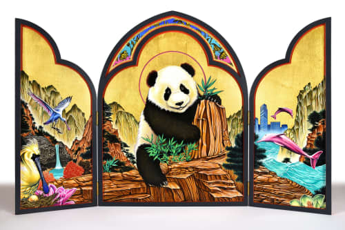 """Paintings by Peter D. Gerakaris Studio seen at Hong Kong - """"Panda Icon Triptych"""" - Commissioned for William Lim Living Collection"""