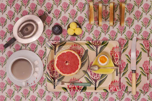 Tableware by Sera Holland seen at Creator's Studio, Cape Town - Pretty Proteas - Surface pattern and product design