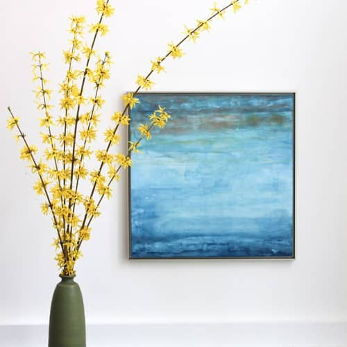 Winter Sky Encaustic Painting   Paintings by Linda Cordner