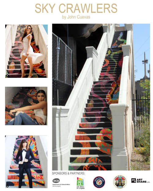 Murals by John Cuevas seen at Mateo Street & South Santa Fe Avenue, Los Angeles - Sky Crawlers