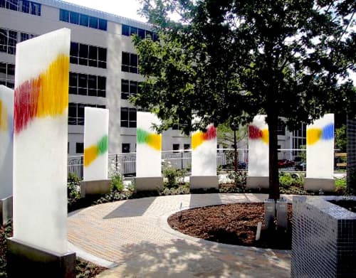 """Sculptures by Walter Gordinier seen at Children's Medical Center Dallas, Dallas - """"Light Towers"""", and Doctors Garden"""