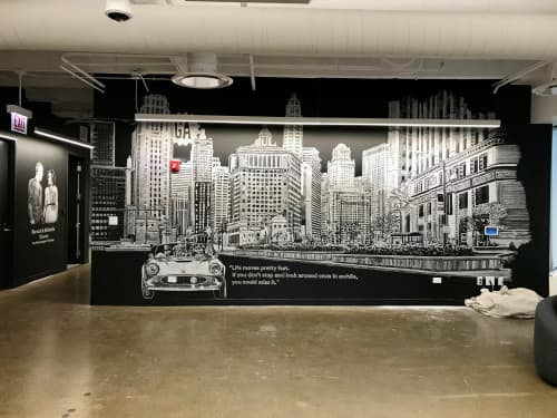 Murals by Amanda Paulson seen at General Assembly Chicago, Chicago - Chicago Skyline Mural