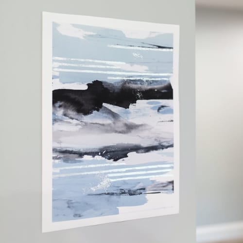Coastal Ink - Silver Embellished Print   Paintings by Julia Contacessi Fine Art