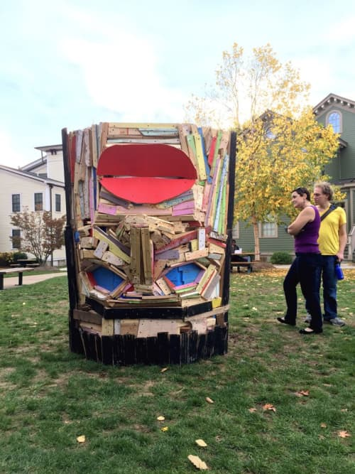 Public Sculptures by Nicolas Holiber seen at Bloomfield College, Bloomfield - Vessel Head