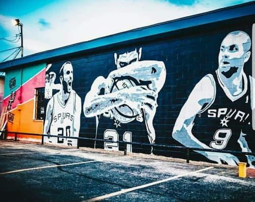 Murals by Albert Gonzales seen at Burger Culture, San Antonio - The Big Three