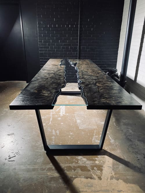 Tables by Live Edge Lust seen at Creator's Studio, Fort Worth - Ebonized River Table