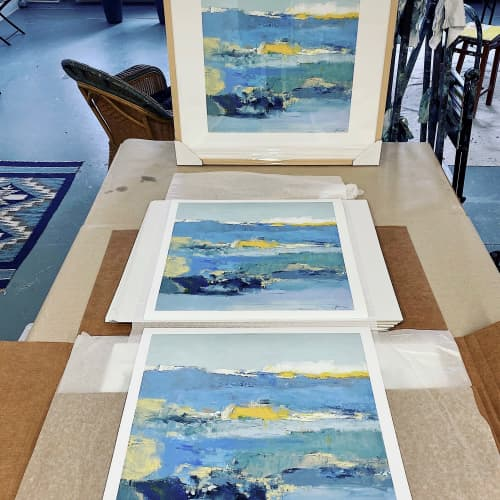 Paintings by Donna Bruni seen at Creator's Studio, Minneapolis - Archival print of Blue Space series