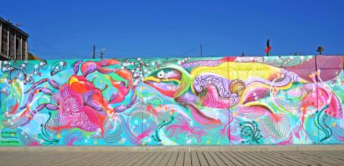 Playas de Tijuana Malecón Collaboration Mural   Street Murals by David Peña
