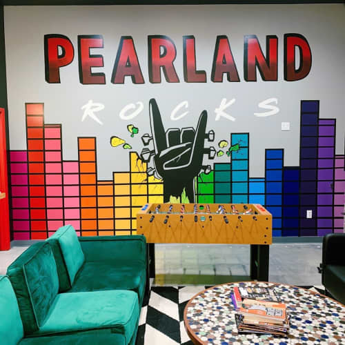 Murals by Fresh Prints of Belaire seen at School of Rock Pearland, Pearland - PEARLAND ROCKS