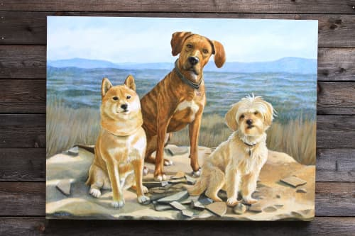 Paintings by Lora Shelley seen at Private Residence - Kum, Layla and MIsha  ©lora Shelley