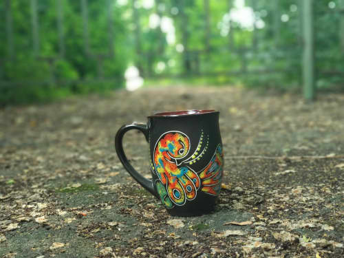 """Cups by Cupscho seen at Private Residence, Kharkiv - Pottery coffee mug """"Firebird"""" 16.9 fl oz"""