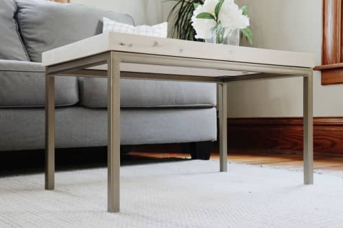 Modern White Maple Coffee Table with Gold Metal Base | Tables by Hazel Oak Farms