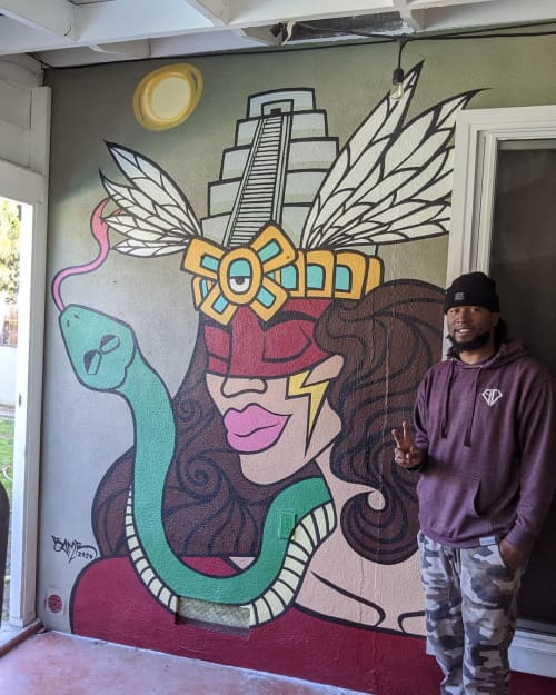 Murals by BAMR the Artist seen at Private Residence, Carmichael - Queen of Mictlan