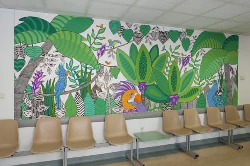 Murals by Melinda Šefčić seen at University Hospital Centre Zagreb, Zagreb - Tropical Dream