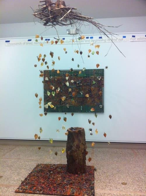 Sculptures by Seung Lee seen at The Heckscher Museum of Art, Huntington - Earth Matter Installation