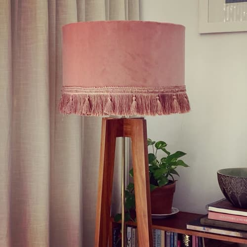 Lamps by Sera Holland seen at Private Residence, Cape Town - Pink velvet lampshade