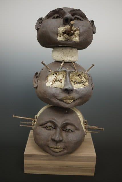 Sculptures by Mary Mcgill Ceramics seen at 2222 Ventura Blvd, Camarillo - Hear, See, Speak