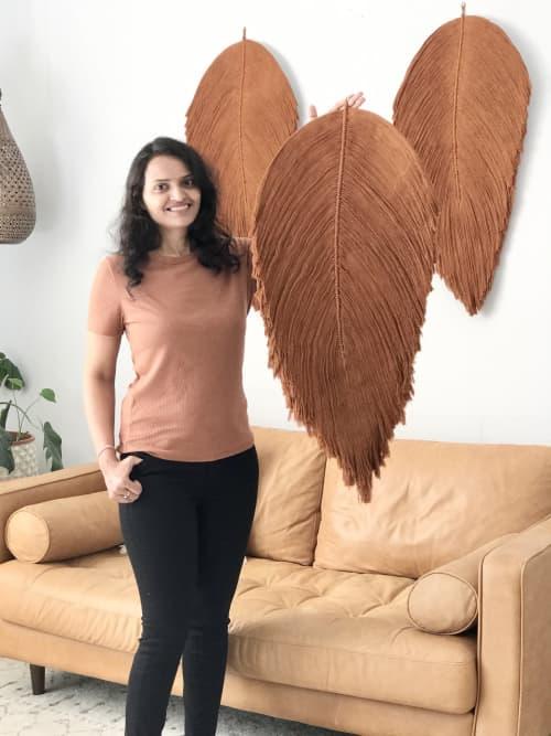Set of Giant Fiber art leaf soft sculptures | Macrame Wall Hanging by YASHI DESIGNS | Netflix Los Angeles in Los Angeles