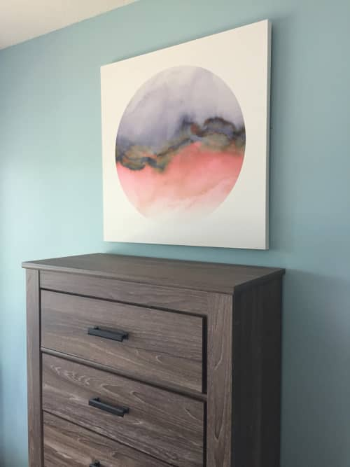 """""""Flow, Coral Grey"""" Fine Art Gallery Canvas Print, at Private Lakehouse 