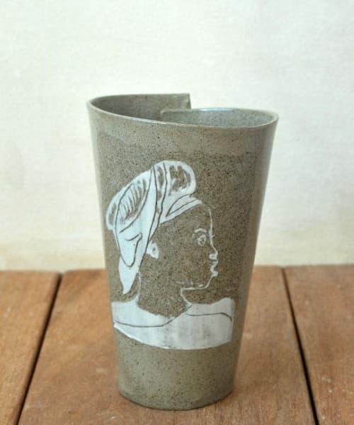 White Portrait Pottery Mug | Cups by ShellyClayspot