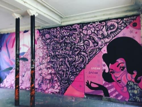 Street Murals by Franck Duval seen at Cité du Wauxhall, Paris - Dream Pink