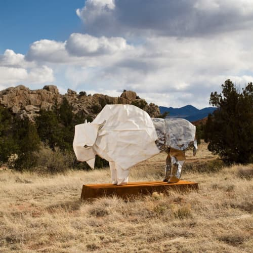 Public Sculptures by KevinBoxStudio. seen at Turquoise Trail Sculpture Garden and Studio, Los Cerrillos - White Bison