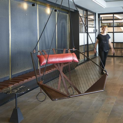 Angular Sling - Hanging Swing Seat - Red Detail | Chairs by Studio Stirling | MESH Club in Johannesburg