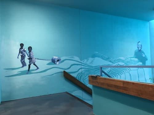 "Murals by Nelson Gutierrez Studio at University of Memphis, Memphis - ""The Accumulation of Droplets"""
