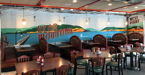 Bear Mountain Landscape Mural   Murals by Toni Miraldi / Mural Envy, LLC   Westchester Diner in Peekskill