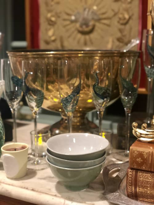 Tableware by Margot Lar Designs seen at SF Decorator Showcase 2019, San Francisco - Reverse glass painted champagne glasses