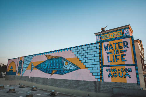 Street Murals by Isakov seen at Los Angeles, Los Angeles - Masel Plaza