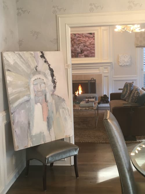 Paintings by Studio Greer Rōbear seen at Private Residence, Austin - Abstract Native American Chief