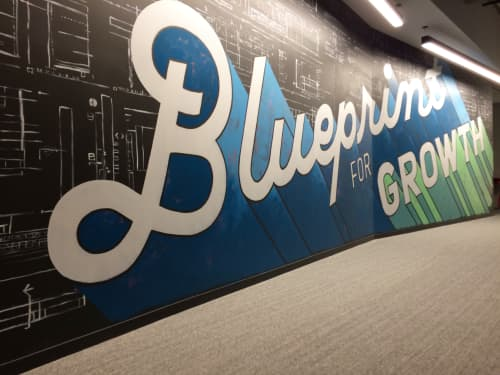 Murals by Amanda Paulson seen at Skender, Chicago - Blueprint for Growth