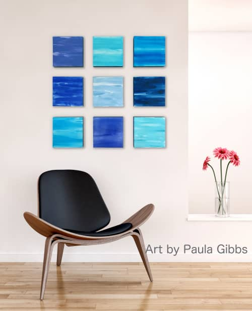 Paintings by Paula Gibbs seen at Tucson Area, Tucson - Wall of Color in Blues by Paula Gibbs
