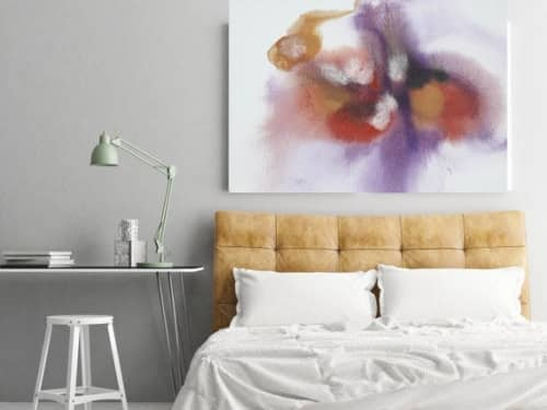 Purple Red Watercolor Abstract Splash | Paintings by Irena Orlov | Private Residence / Los Angeles, CA in Los Angeles