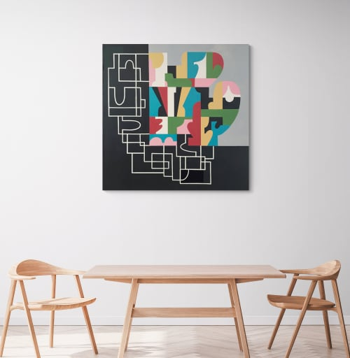 """""""Building My Case"""" abstract canvas painting 