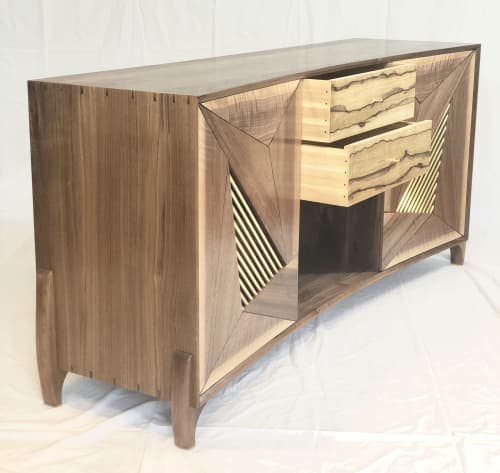 Concave record console | Furniture by Mako Woods