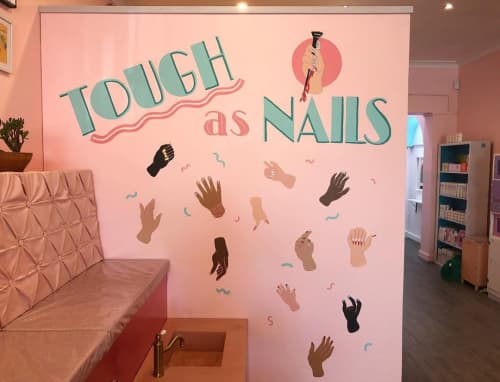 """Murals by Ashley McNeil seen at Miss Jay's Nail & Beauty, Thornbury - """"TOUGH as NAILS"""""""