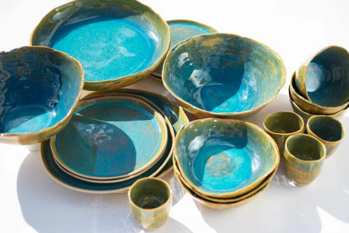 Tableware by Charlotte Ceramics at Private Residence, Ibiza - Range of tableware in Turquoise. Plates, cups, bowls, presentation dishes,...