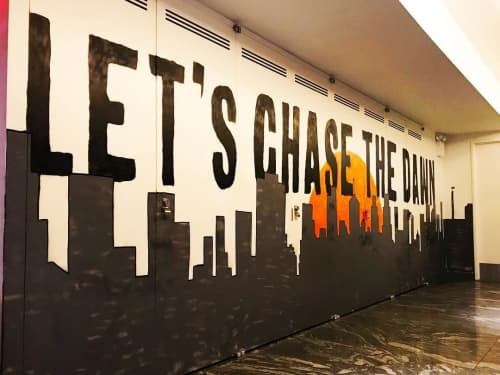 Murals by Morley seen at Conrad New York Downtown, New York - Let's Chase The Dawn
